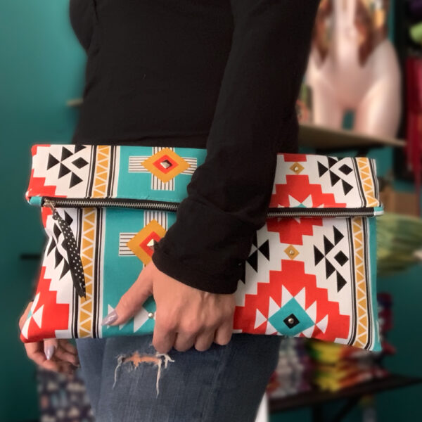 Shine Your Heart Oversized Clutch Aztec