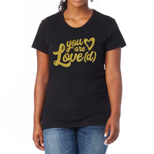 W1BKLVD2 you are loved black tee gold print