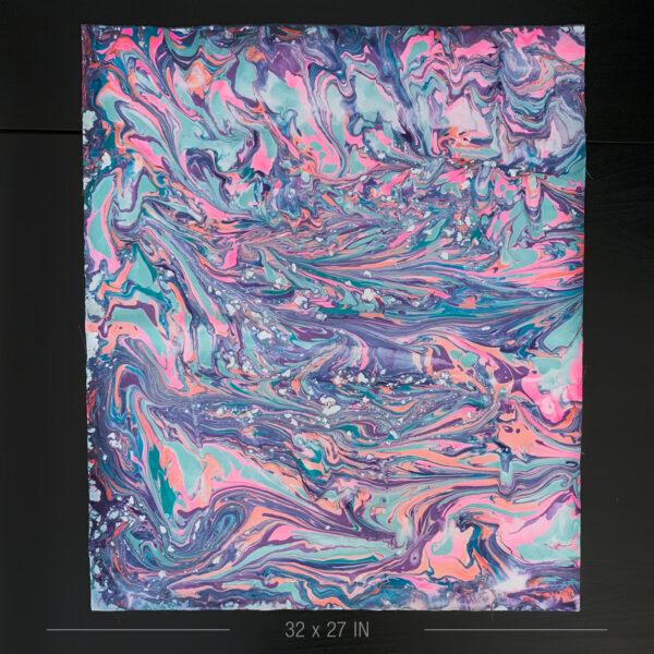 Hand Marbled Fabric - River Run